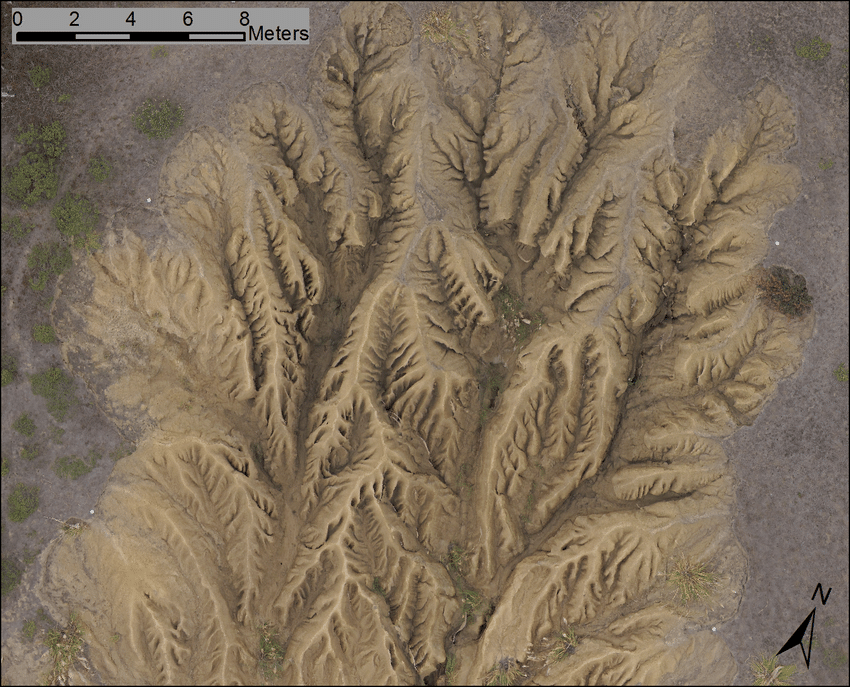 Orthophoto of gully from UAS photos
