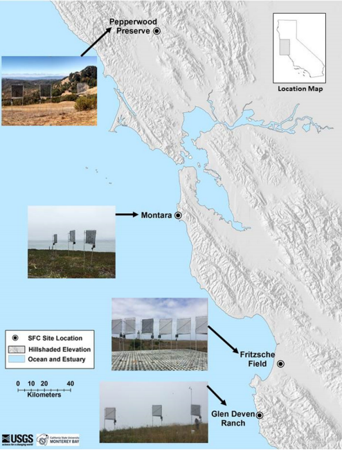 Fig 1.  Location map of study sites with photo insets of collector arrays