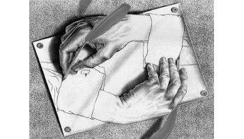 Escher painting hands writing themselves