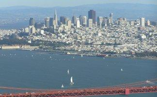 San Francisco from over the Golden Gate Bridge