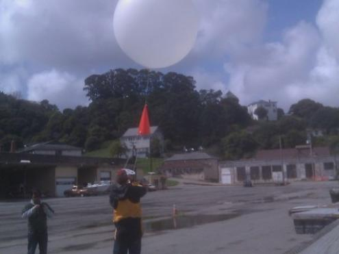 releasing a weather balloon