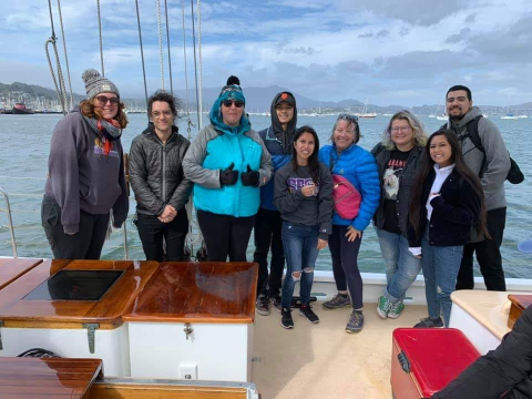 students on ship
