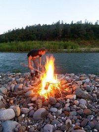 campfire by the Yuba River